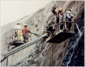 Steel fiber reinforced shotcrete applied for slope stabilization